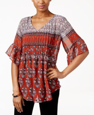 Style & Co. Petite Printed Pintucked Peasant Top, Only at Vogily