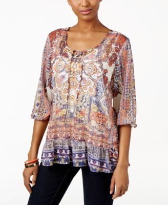 Style & Co. Petite Printed Lace-Up Peasant Top, Only at Vogily