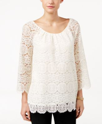 Style & Co. Petite Bell-Sleeve Lace Top, Only at Vogily
