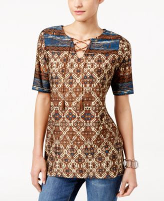 NY Collection Petite Printed Lace-Up Peasant Tunic