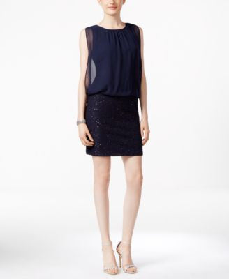 MSK Chiffon and Sequin Blouson Dress