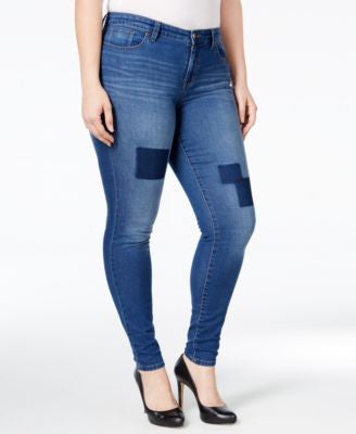 Style & Co. Plus Size Patchwork Tummy-Control Slim-Leg Jeans, Only at Vogily