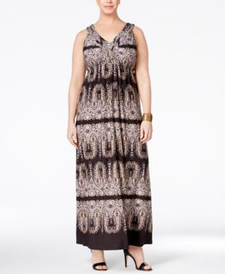 Style & Co. Plus Size Printed V-Neck Maxi Dress, Only at Vogily