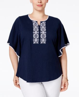 Style & Co. Plus Size Embroidered Peasant Blouse, Only at Vogily