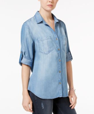 Velvet Heart Grace Tab-Sleeve Denim Shirt