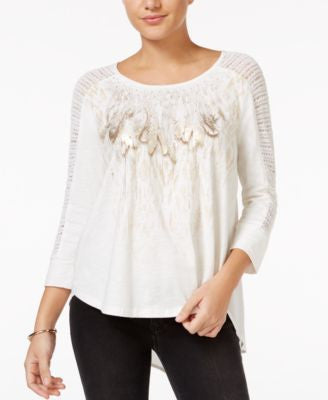 Miss Me Embellished Feather-Print Top