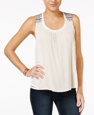 Miss Me Lace-Trim Embroidered Tank Top