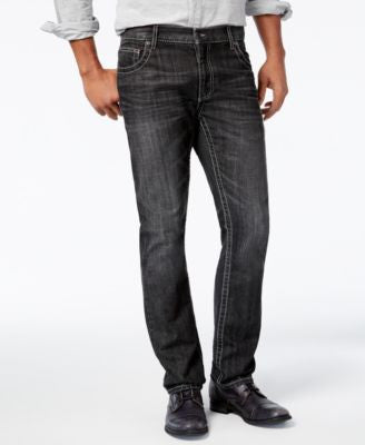 INC International Concepts Men's Slim-Fit Straight-Leg Black Wash Jeans, Only at Vogily