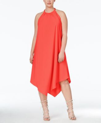 RACHEL Rachel Roy Curvy Trendy Plus Size Handkerchief-Hem Halter Dress