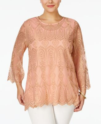 American Rag Trendy Plus Size Embroidered Blouse, Only at Vogily