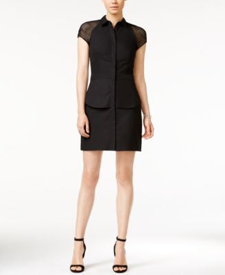 Armani Exchange Mesh-Sleeve Layered Shirtdress