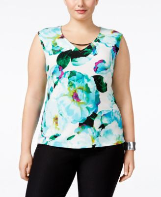 Calvin Klein Plus Size Cap-Sleeve Printed Top