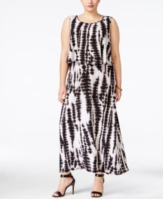 NY Collection Plus Size Tie-Dyed Popover Maxi Dress