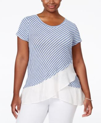 NY Collection Plus Size Striped Flounce-Hem Top