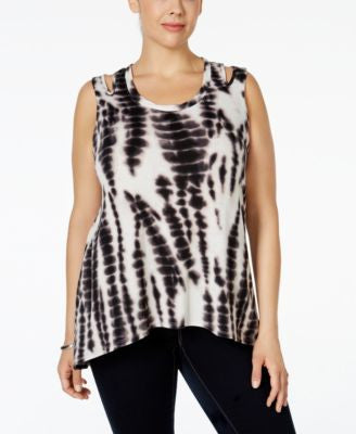 NY Collection Plus Size Tie-Dyed Keyhole Tank Top