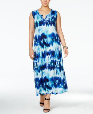 NY Collection Plus Size Tie-Dyed Maxi Dress