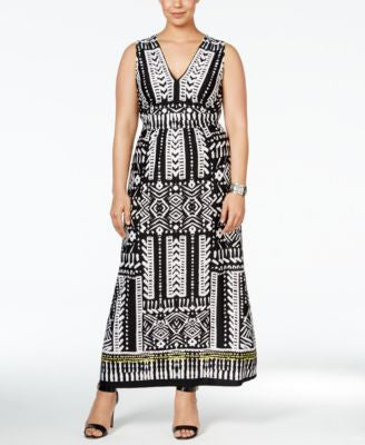 NY Collection Plus Size Fit & Flare Border-Print Maxi Dress