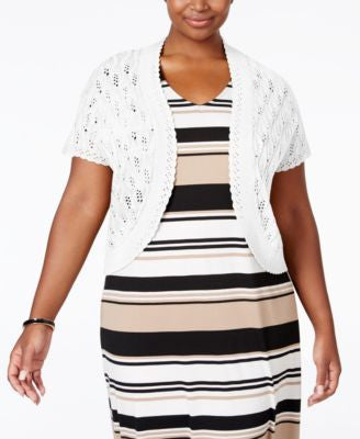NY Collection Plus Size Open-Front Pointelle Shrug