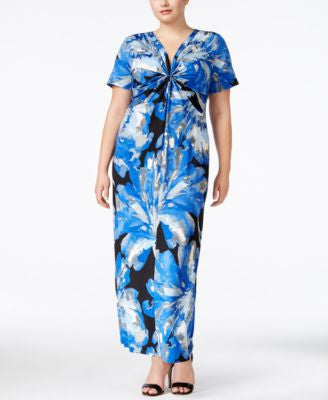 NY Collection Plus Size Knot-Front Maxi Dress