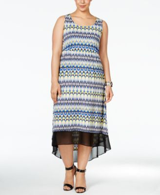 NY Collection Plus Size Printed High-Low Dress