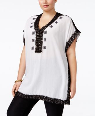 MICHAEL Michael Kors Plus Size Crochet-Trim Tunic