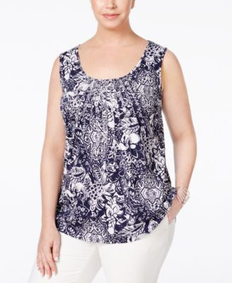 Charter Club Plus Size Paisley-Print Blouse, Only at Vogily