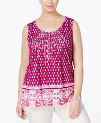 Charter Club Plus Size Printed Pintucked Tank Top, Only at Vogily