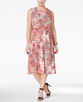 Charter Club Plus Size Paisley-Print Fit & Flare Dress, Only at Vogily