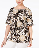 Karen Scott Plus Size Printed Zip-Shoulder Top, Only at Vogily
