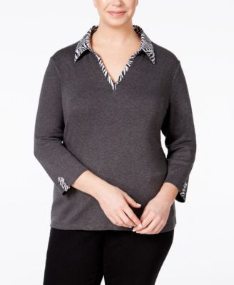 Karen Scott Plus Size Printed-Trim Top, Only at Vogily