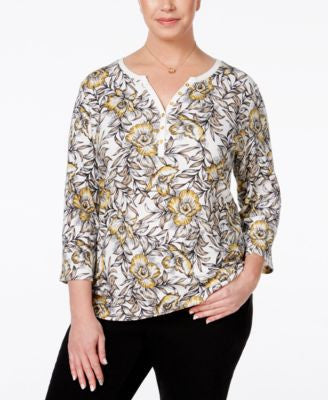Karen Scott Plus Size Floral-Print Henley Top, Only at Vogily