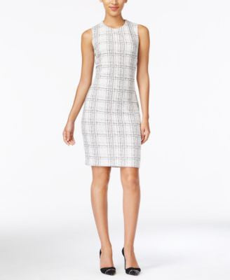 Calvin Klein Sleeveless Plaid Sheath Dress