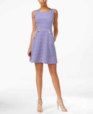 Jessica Simpson Open-Back Striped Fit & Flare Dress