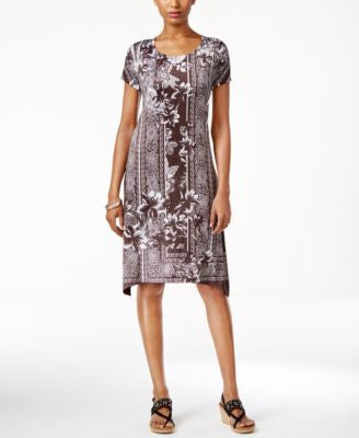 Style & Co. Printed Short-Sleeve Dress, Only at Vogily