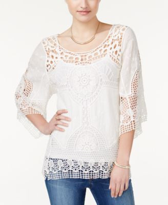 American Rag Crocheted Three-Quarter-Sleeve Top, Only at Vogily
