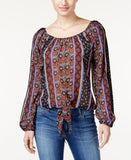 American Rag Printed Tie-Front Blouse, Only at Vogily