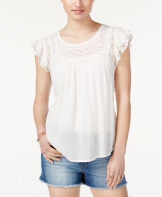 American Rag Lace-Trim Flutter-Sleeve Top, Only at Vogily