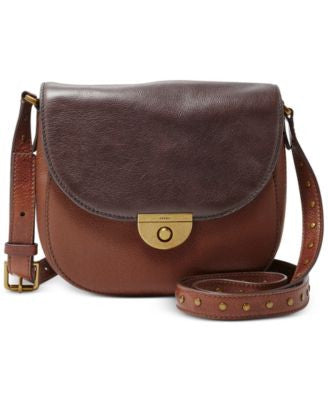 Fossil Leather Emi Colorblock Saddle Bag