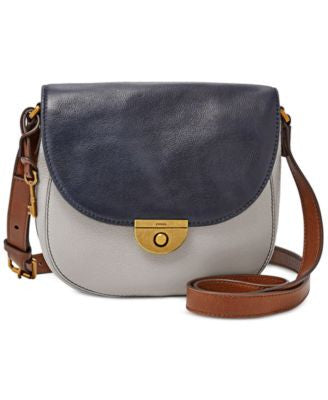 Fossil Emi Colorblock Leather Saddle Bag