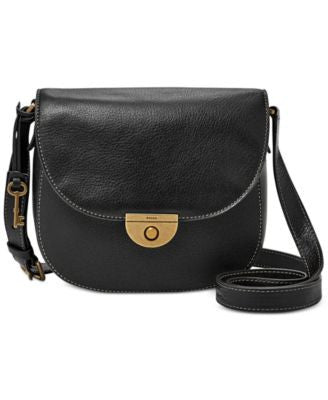 Fossil Pebbled Leather Emi Saddle Bag