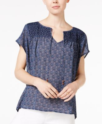 Sanctuary Una Smocked Geo-Print Peasant Top