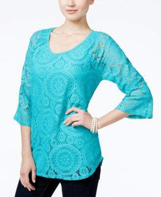 JM Collection Lace Three-Quarter-Sleeve Top, Only at Vogily