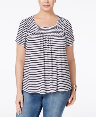 Style & Co. Plus Size Striped Pleat-Neck Top, Only at Vogily