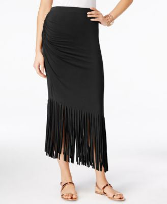 INC International Concepts Petite Asymmetrical Fringe Maxi Skirt, Only at Vogily