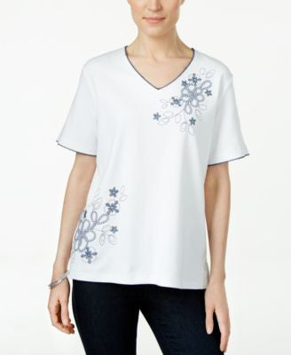 Alfred Dunner Petite Floral-Embroidered Top