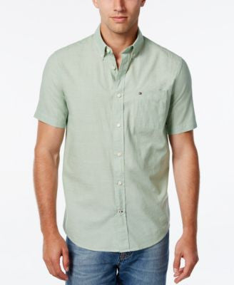 Tommy Hilfiger Men's Big & Tall Wainwright Short-Sleeve Linen Shirt