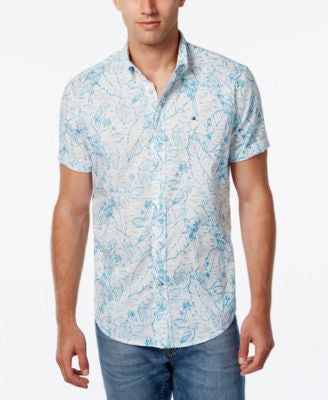 Tommy Hilfiger Men's Tropical-Print Short-Sleeve Shirt