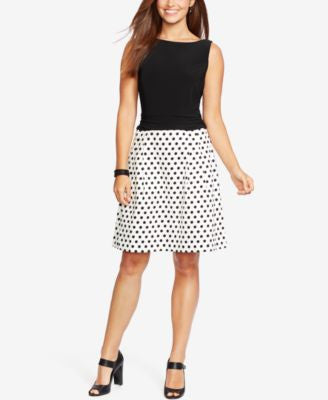 American Living Dotted-Skirt Sateen Dress