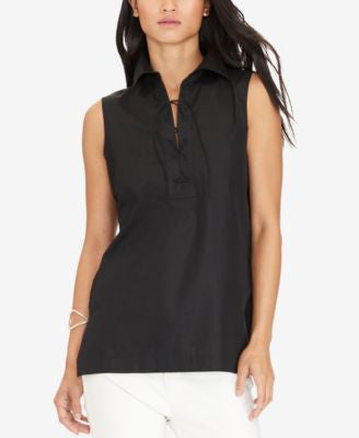 Lauren Ralph Lauren Lace-Up Sleeveless Shirt