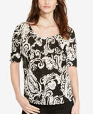 Lauren Ralph Lauren Paisley Scoop Neck T-Shirt